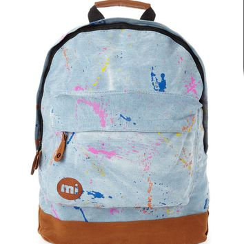 Mi-Pac Splattered Stonewash Backpack - Blue - Festival Central - Inspiration | Shop for Men's clothing | The Idle Man