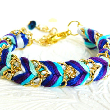 Blueberry Jam - Powder Grey, Royal Blue, Plum & Mint Turquoise Swirl - Adjustable Chevron Braided Modern Friendship Bracelet