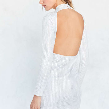Motel Tempest Metallic Mock-Neck Mini Dress - Urban Outfitters