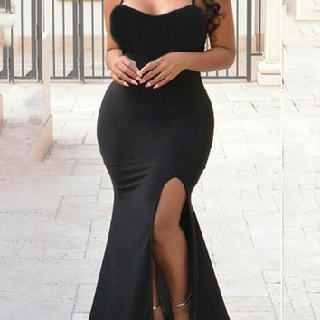 New Black Spaghetti Strap Backless Side Slits Bodycon Mermaid Prom Evening Party Maxi Dress