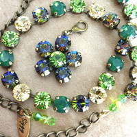 Swarovski crystal choker, 8mm green and vitrail, choose your pieces, not sabika.