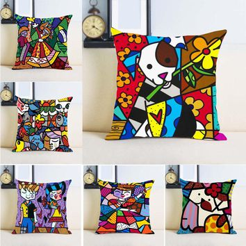 Romero Britto Dog Art  Unique Chic Throw Pillow Case Two Sides Printing Conceal Zipper