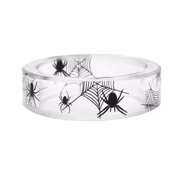 2017 New DIY Handmade Halloween Jewelry for Casual Party Gift Fashion Punk animal spider Landscape inside Rings Women Men ring