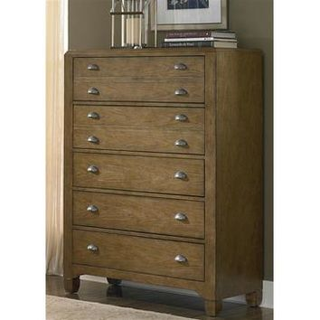 Liberty Furniture Town & Country 5 Drawer Chest in Distressed Sandstone w White