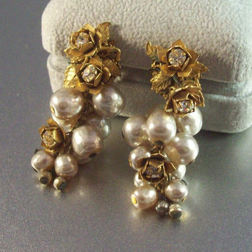 Vintage Miriam Haskell Earrings Gilt Brass Filigree Baroque Pearl Rhinestone