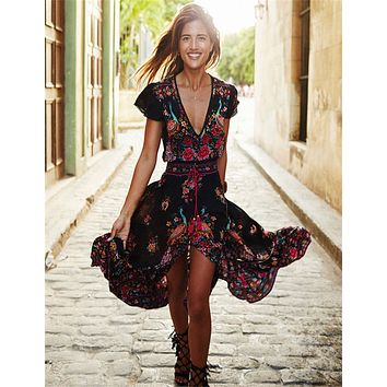 V Neck Vintage Boho Long Maxi Floral National Chiffon Dress