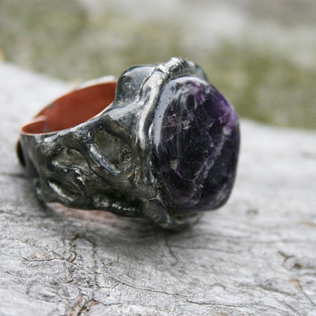 amethyst ring, signet ring, amethyst signet, raw amethyst ring, raw ring, tiffany method, for her, for him, copper band, handmade jewelry