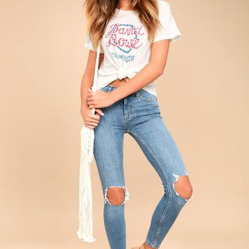 Free People High Rise Busted Light Wash Distressed Skinny Jeans