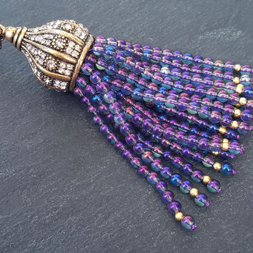 Purple Rainbow Crystal Quartz Beaded Tassel Iridescent Aurora Borealis Antique Bronze Rhinestone Accents - Fleur Cap