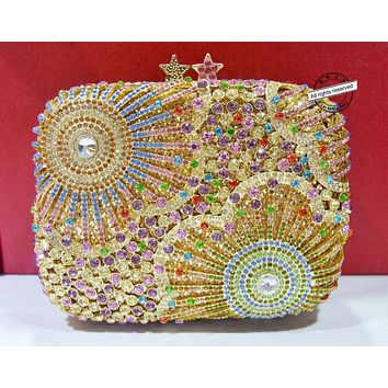 Stylish Golden with Metal handle Luxury Crystal Evening Bag Wedding Bag Rhinestone Party Purse Bag Wedding Day Clutches 88370