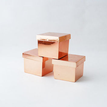 Vintage Copper Metallic Gift Box - Small Jewelry Boxes