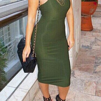 Green Sleeveless Bodycon Midi Dress