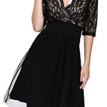 DKBAYA Women's Deep V-Neck Lace Half Sleeve Formal Swing Dress