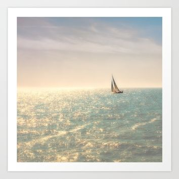 Misty summer day on the sea- a lonely boat Art Print by Guna Andersone & Mario Raats - G&M Studi