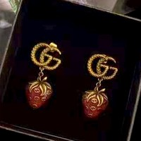 Free shipping-GUCCI Double G Embossed Strawberry Logo Stud Earrings