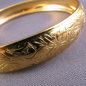ON SALE Vintage Gold Plated Etched Bangle Bracelet