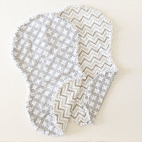 Burp Cloth - gray & White