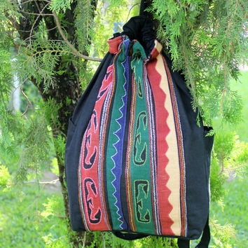 Large Tribal Backpack Primitive Akha Embroidery and Applique Great Mens Gift