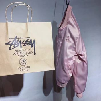 STUSSY Union Bomber Zipper Cardigan Pink Jacket Coat