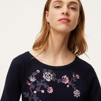 Floral Embroidered Puff Cuff Sweater | LOFT