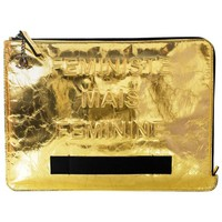 Chanel 2015 Gold Crinkled Leather Large Feminist Mais Feminine Clutch Bag