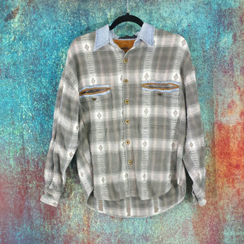 90s Flannel Shirt Vintage Grunge Southwest Plaid Denim Collar Corduroy Trim Button Front Jacket Worn Distressed Faded Long Sleeve Cotton Top