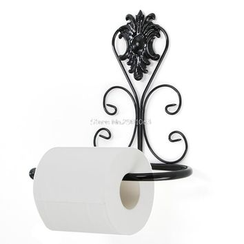 Vintage Iron Toilet Paper Towel Roll Holder Bathroom Wall Mount Rack Black Hot H06