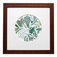 Ferns - Large Circle on White Linen