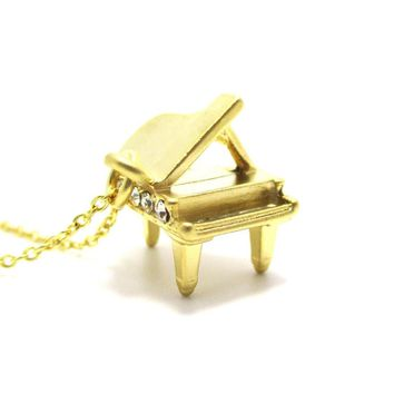 Miniature Music Realistic Grand Piano Pendant Necklace in Gold