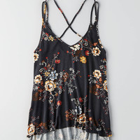 AEO Strappy Floral Cami, Heather Gray