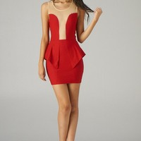 Red Sleeveless Peplum Dress with Mesh Contrast Detail