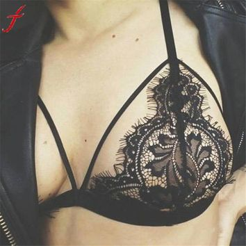 Sexy Black Bra Bustier Women Hollow Out Translucent Sheer Floral Lace Wire Bra Bustier Sheer Top Seamless Bralette Transparent