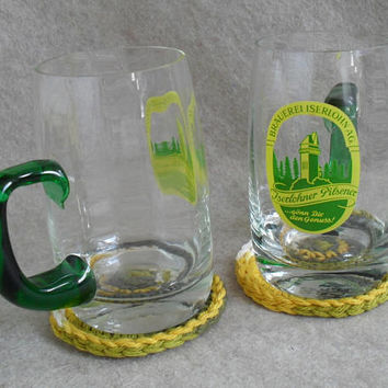 Vintage German Pilsener Glass Beer Mugs