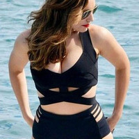 Black Plus Size Criss-Cross High Waist Bikini