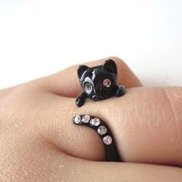 Black cat ring, cubic ring, kitty ring