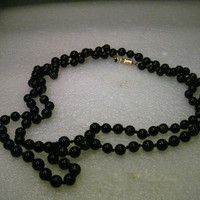 "Vintage 40"" Black Quartz or Jet Beaded Necklace, 7mm, Knotted Between Beads"
