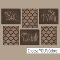 EAT DRINK be Merry CANVAS or Prints Kitchen Wall Art, Quatrefoil Pattern Artwork, Choose Your Colors, House Warming Gift Set of 6 Home Decor