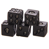 1Set of 5 Nemesis Black Skull Dice Grinning Skull Deluxe Devil Poker Dice Gothic Gambling Dice Tower with Death