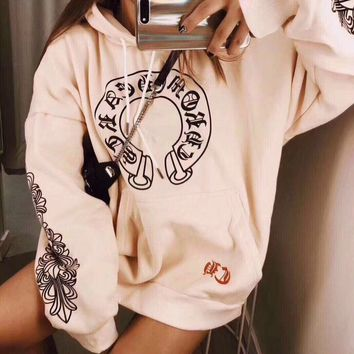 """Chrome Hearts"" Women Casual Personality Lips Horseshoe Letter Print Loose Long Sleeve Hooded Sweater Tops"