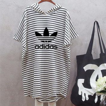 adidas women multicolor stripe hooded short sleeve mini dress