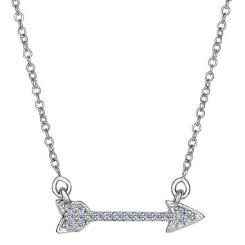 14k White Gold 0.14Ct Diamond Sideways Arrow Necklace - 18 Inch
