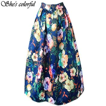New Women100cm Non-transparent Fashion Satin Long Skirt Vintage Retro Floral Print High Waist Pleated Flared Maxi Skirt FASK21