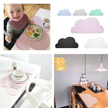 Silicone Placemat 47x27cm FDA Bar Mat Baby Kids Cloud Shaped Plate Mat Table Mat Set Home Kitchen Pads BPA Free