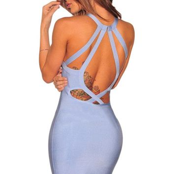Light Blue Strappy Cut-Out Back Bandage Dress