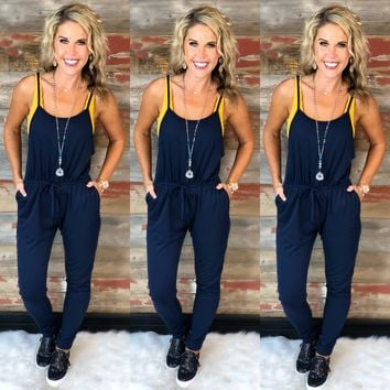 Enjoy this Moment Jumpsuit: Navy