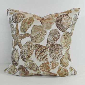 Seashell Decorative Pillow Cover, Starfish Cushion Cover, 16 x 16