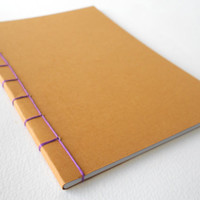 Customizable notebook journal with stab binding and 40 blank pages, A3 format handmade simple plain notebook