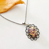 Victorian Opal Pendant Necklace -Antique Silver- Vintage Style