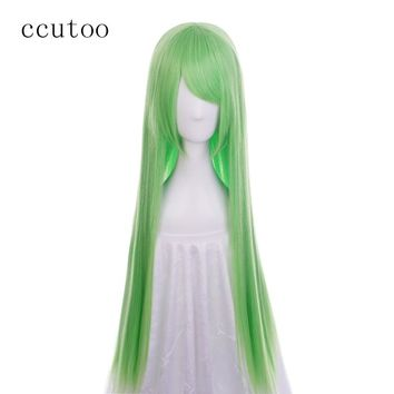 Code Geass C.C CC Empress Green Long Straight Synthetic Hair Cosplay Wig