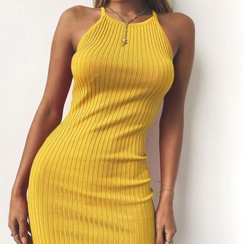 Women Sexy Club Backless Spaghetti Strap Summer Dress 2018 Cotton Ladies Elastic Bodycon Black Yellow Party Mini Dresses Vestido